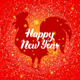 Chinese New Year Red Rooster Stock Photo