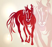 Chinese New Year 2014 red walking horse Stock Image