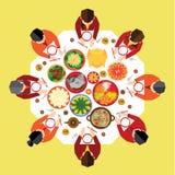 Chinese New Year Reunion Dinner. Vector Design stock illustration