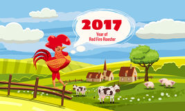 2017 Chinese New Year of the Rooster. Background nice rural landscape, Farm, cows, cartoon style,  illustration Royalty Free Stock Image