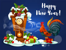 Chinese New Year rooster with clock Royalty Free Stock Photo