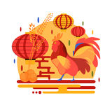 Chinese New Year 2017 rooster concept Royalty Free Stock Photos