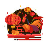 Chinese New Year 2017 rooster concept. Flat style with rooster, mandarin and chinese lantern. Christmas and new year party concept design with bird and fruit Stock Photos