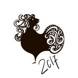 Chinese New Year 2017 rooster design. Black Cock - Symbol of New Year 2017. Rooster isolated on white. Stock Photo