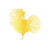 Chinese New Year 2017 rooster design. Golden Cock - Symbol of New Year 2017. Rooster isolated on white. Chinese New Year 2017 rooster design. Golden Cock Royalty Free Stock Image