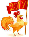 Chinese New Year 2017 Rooster Flag Symbol Cartoon Character Colo. Rooster for Chinese New Year 2017; Cockerel holding red flag; Symbol of zodiac horoscope Stock Photography