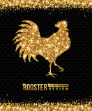 Chinese New Year of the Rooster. 2017 Chinese New Year of the Rooster. Gold Glittering Pattern on Black Background. Vector illustration Royalty Free Stock Image