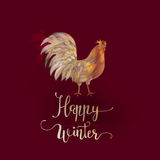 Chinese New Year of the Rooster. Graphic imitation of watercolor painting. Rooster Chinese Painting. New Year card. Happy winter Stock Photography