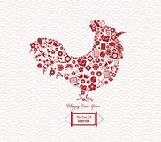 Chinese New Year of the rooster icons elements Royalty Free Stock Images