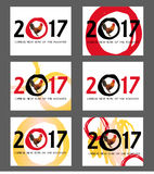 Chinese New Year of Rooster 2017 Poster. Eps 10 Royalty Free Stock Photos