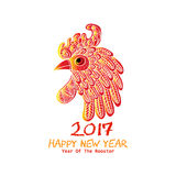 Chinese New Year of the Rooster. Red cock - symbol of 2017 Royalty Free Stock Images