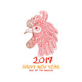 Chinese New Year of the Rooster. Red cock - symbol of 2017 Stock Photography