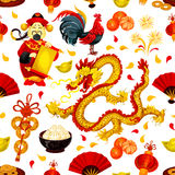 Chinese New Year of Rooster seamless pattern. Of zodiac cock, red lantern, fortune coin, dragon, mandarin orange, god of wealth with scroll, gold ingot, festive Stock Images