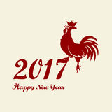2017 Chinese New Year of the Rooster. Silhouette of cock. The zodiac symbol. Elements for design greeting card and invitation,. Brochure, flyer. Vector Royalty Free Stock Photos