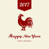 2017 Chinese New Year of the Rooster. Silhouette of red cock. The zodiac symbol. Elements for design greeting card and invitation,. Brochure, flyer. Vector Stock Photography