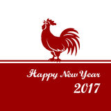 2017 Chinese New Year of the Rooster. Silhouette of red cock. The zodiac symbol. Elements for design greeting card and. Invitation, brochure, flyer. Vector stock illustration