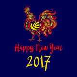 2017 Chinese New Year of the Rooster. Vector file organized in layers for easy editing. happy new year. art stock illustration