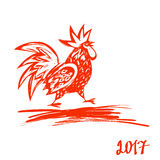 2017 Chinese New Year of the Rooster. Vector Illustration. Hand drawn illustration red rooster on white background. Template for Greeting , Congratulations and Stock Images