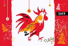 2017 Chinese New Year of the Rooster. Vector Illustration. Templ. Ate for Greeting , Congratulations, Invitations Stock Photos