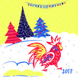 2017 Chinese New Year of the Rooster. Vector Illustration with xmas tree. Hand drawn illustration red rooster on white background. Template for Greeting Stock Images