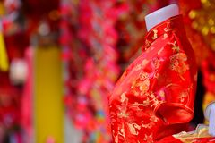 Chinese New Year. The New Year`s Day of the Chinese people. Lamps and red garments for use during Chinese New Year. The New Year`s Day of the Chinese people royalty free stock photography