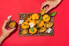 Chinese new year`s decoration. Mandarin orange and gold sycee Stock Photography