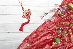 Chinese new year`s decoration for Spring festival. Chinese New Year decorative items used in the belief that the good luck and wealth Stock Images