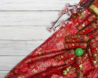 Chinese new year`s decoration for Spring festival. Chinese New Year decorative items used in the belief that the good luck and wealth Stock Photos