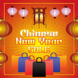 Chinese New Year sale background. Chinese lanterns, shopping bag and text on red Background Royalty Free Stock Photography