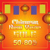 Chinese New Year sale background. Chinese lanterns and text on red Background Stock Images