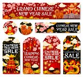 Chinese New Year sale vector tags shop banners. Chinese New Year sale on tags and banners of golden decorations and traditional Chinese ornaments. Vector dragon royalty free illustration