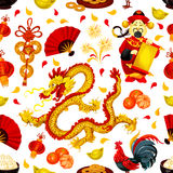Chinese New Year seamless pattern background. Chinese New Year symbols seamless pattern with red rooster, lantern, golden coin, dragon, god of prosperity Stock Image