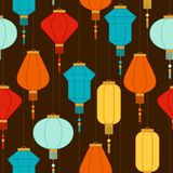 Chinese New Year seamless pattern with lanterns.  Royalty Free Stock Photos