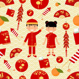 Chinese New Year seamless pattern. Vector illustration Royalty Free Stock Image