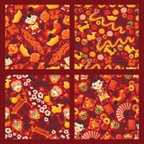 Chinese new year seamless pattern vector traditional red lantern oriental decoration of china culture for asian holiday. Celebration illustration set of stock illustration