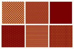 Chinese New Year seamless patterns set. Set of Chinese New Year seamless geometric patterns, golden on red. Vector illustration. Flat style design. Concept for vector illustration