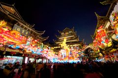 Chinese New Year in Shanghai, Year of the horse. Chinese New Year at the Yuyuan Garden in Shanghai, Year of the horse Royalty Free Stock Image