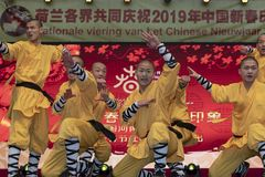 Chinese New Year 2019 - Shaolin Kung Fu. Chinese Kung Fu show and stage performance Shaolin Kung Fu from Henan Province China in the city hall premise royalty free stock images