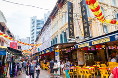Chinese New Year Shopping in Singapore Chinatown Stock Images