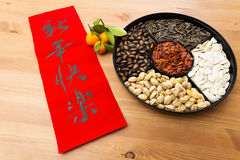 Chinese new year snack tray and chinese calligraphy, meaning for Royalty Free Stock Photo