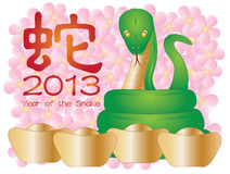Chinese New Year of the Snake. 2013 with Snake Text Gold Bars and Cherry Blossom Illustration Stock Photo