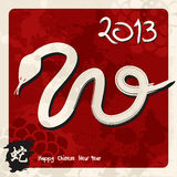 Chinese New Year of the Snake. 2013 Chinese New Year of the Snake sketch illustration over red background. Vector illustration layered for easy manipulation and Royalty Free Stock Photos
