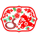Chinese New Year Snake. Traditional paper cut of a snake Royalty Free Stock Image