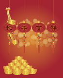 Chinese New Year of the Snake Lanterns. Chinese New Year with Prosperity in the Year of the Snake Words on Lanterns and Gold Bars Illustration Royalty Free Stock Photos