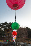 Chinese New Year. South Korean religious lanterns adorning a buddhist temple in Seoul Stock Image