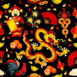 Chinese New Year, Spring Festival seamless pattern. Chinese New Year and Spring Festival holidays seamless pattern with red rooster, golden dragon, lantern Stock Photo