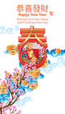 Chinese New Year spring sky grow step poster Stock Image