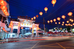 Chinese New Year street decoration at night in Hat Yai Stock Photo