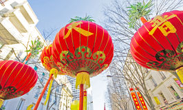 Chinese New Year. In the streets with chinese lanterns Royalty Free Stock Images