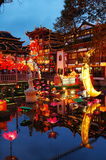 Chinese New Year on the surface color lights. Chenghuangmiao Shanghai, China in the New Year comes, the water modeling in a variety of settings color lights, a Stock Photo
